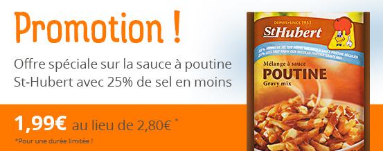 Promotion sur la sauce poutine St-Hubert avec 25% de sel en moins